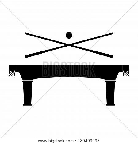 Billiard table with sticks and ball on white