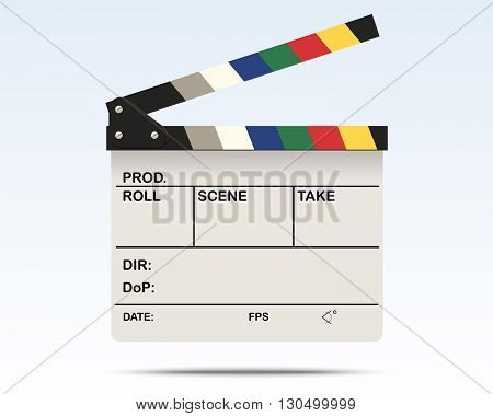 Illustration of a White Clapper Board Isolated