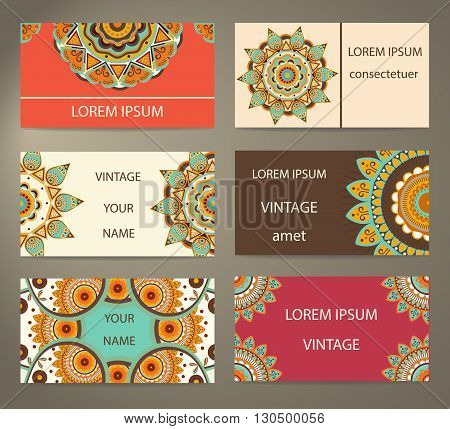 Set ornament of greeting cards, invitations with decorative flowers. Elements for design ethno style. Vector Illustration