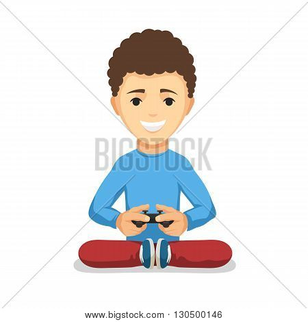 Curly teenager boy with game controller gamepad isolated on the white background. Kid Playing video games keeps the joystick in his hands. Vector cartoon illustration