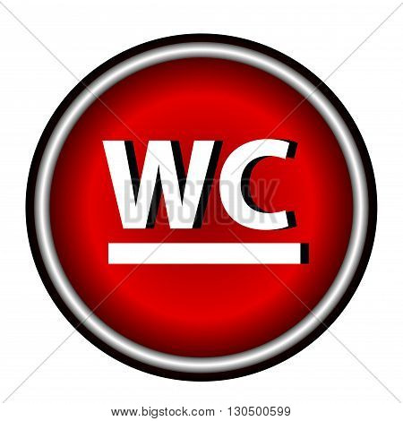 Red circle WC Icon on white background