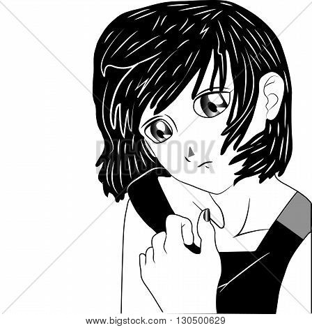 Lonely black anime manga cartoon girl on white background