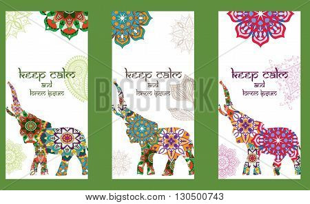 Set of traditional pages ornament illustration concept with Indian decorated elephant. set of 3