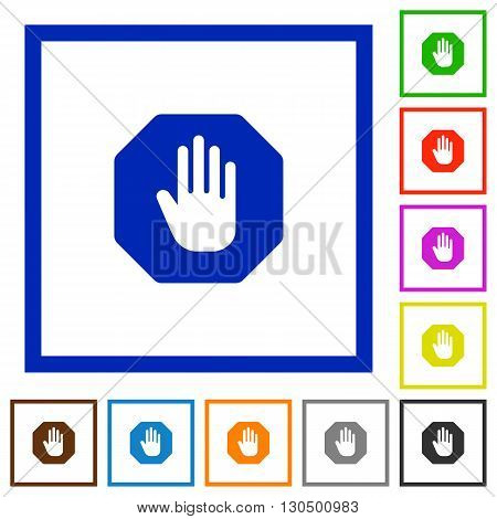 Set of color square framed stop sign flat icons on white background