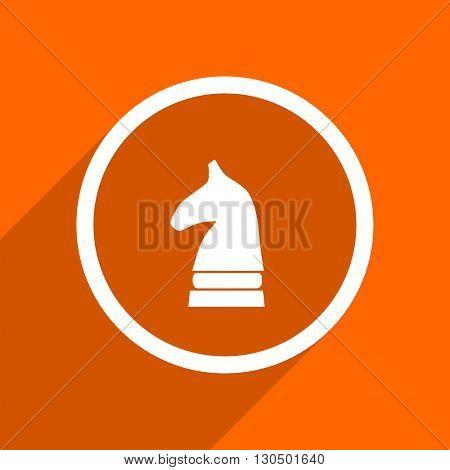 chess horse icon. Orange flat button. Web and mobile app design illustration