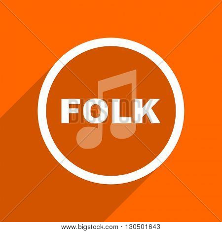 folk music icon. Orange flat button. Web and mobile app design illustration
