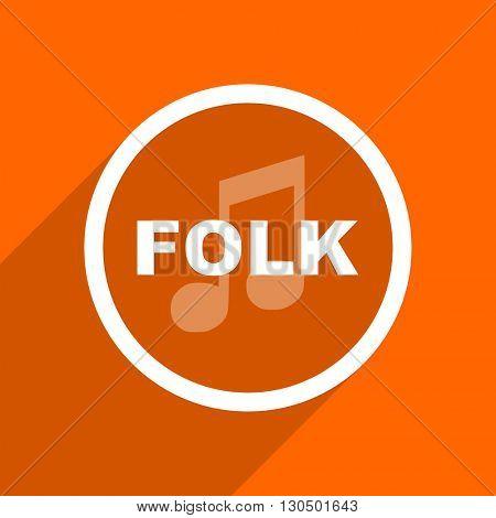 folk music icon. Orange flat button. Web and mobile app design illustration