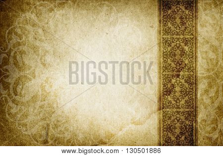 Old dirty paper background with old-fashioned border and ornament. Grunge paper texture.