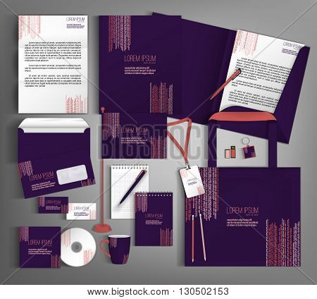 Corporate identity template design with a purple and terracotta color. Business set stationery.