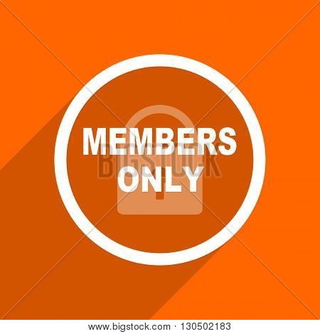 members only icon. Orange flat button. Web and mobile app design illustration