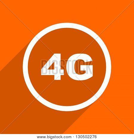 4g icon. Orange flat button. Web and mobile app design illustration