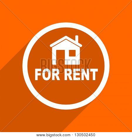 for rent icon. Orange flat button. Web and mobile app design illustration