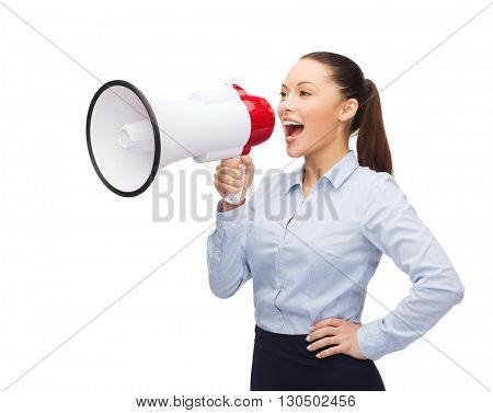 business, communication and office concept - screaming businesswoman with megaphone