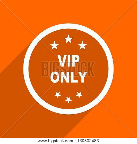vip only icon. Orange flat button. Web and mobile app design illustration