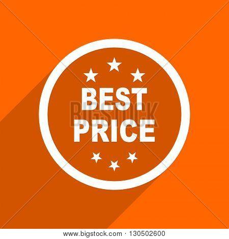 best price icon. Orange flat button. Web and mobile app design illustration