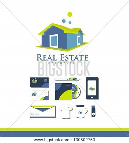 Vector company logo icon element template real estate house 3d property residential realty realtor green yellow blue