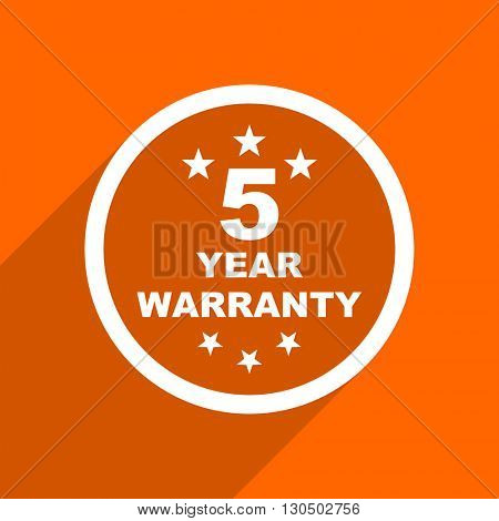 warranty guarantee 5 year icon. Orange flat button. Web and mobile app design illustration