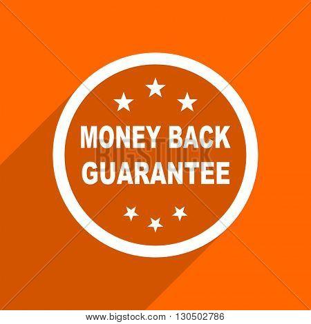 money back guarantee icon. Orange flat button. Web and mobile app design illustration