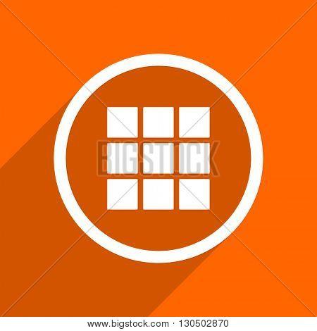 thumbnails grid icon. Orange flat button. Web and mobile app design illustration