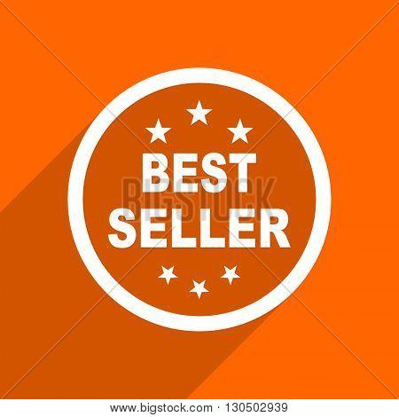 best seller icon. Orange flat button. Web and mobile app design illustration