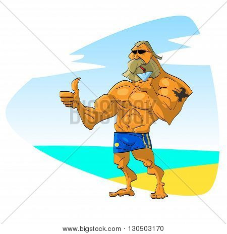 Muscular bearded guy with sunglasses on a beach vacation, drinking a cocktail during the summer time.