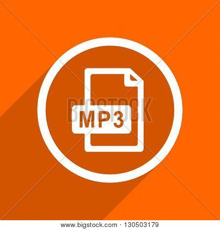 mp3 file icon. Orange flat button. Web and mobile app design illustration