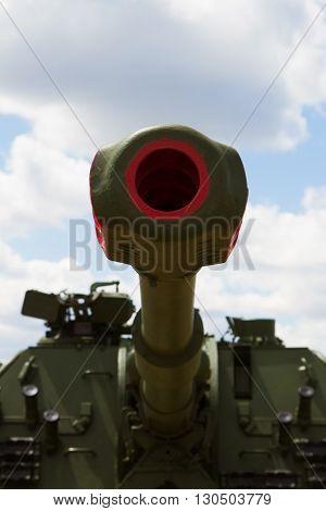 Artillery Gun Barrel Against The Blue Sky