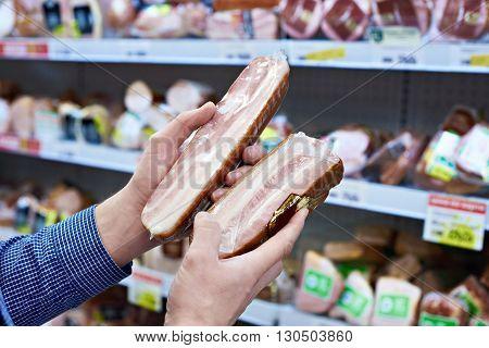 Buyer Chooses Cooked Ham In Shop