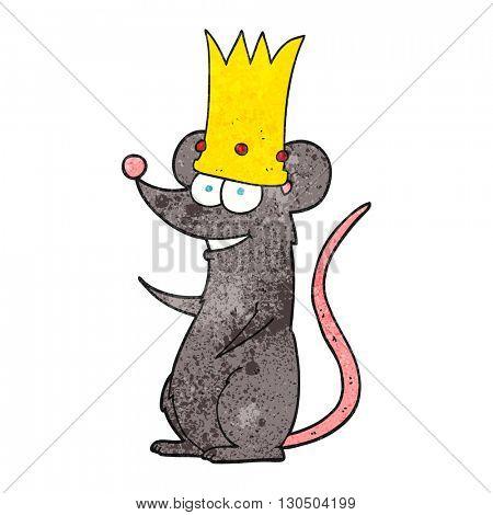 freehand textured cartoon rat king