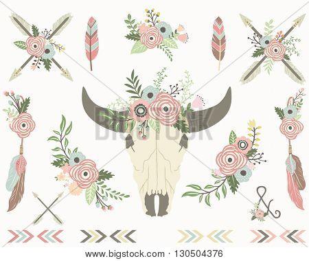 Floral Tribal Bull Skull