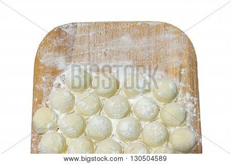 Vareniki dumplings pierogi before boiling - traditional Ukrainian food.