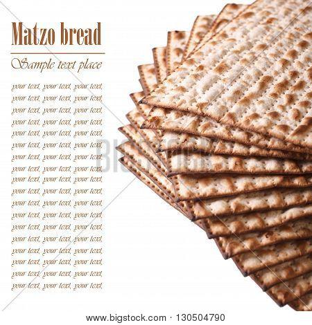 Jewish Kosher Matzo For Passover Macro Isolated On White. Text