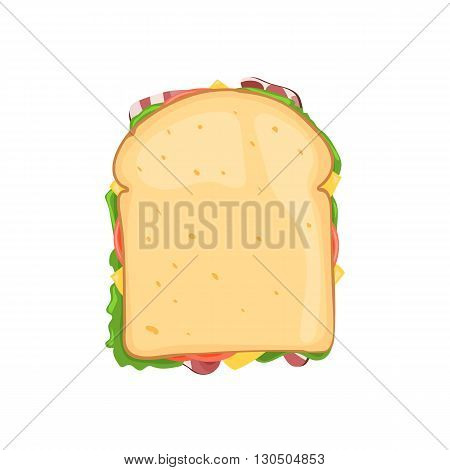 Sandwich vegetable with bacon and cheese top view. Vector illustration isolated on white background for web design or brochure printing
