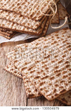 Jewish Kosher Matzah Macro On A Table. Vertical