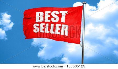 best seller, 3D rendering, a red waving flag