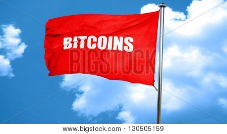 bitcoins, 3D rendering, a red waving flag