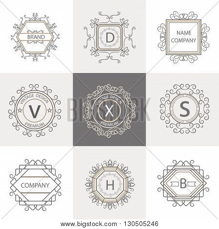 Logo template flourishes calligraphic elegant ornament lines. Isolated business sign, monogram identity for restaurant, boutique, cafe. Vector Illustration