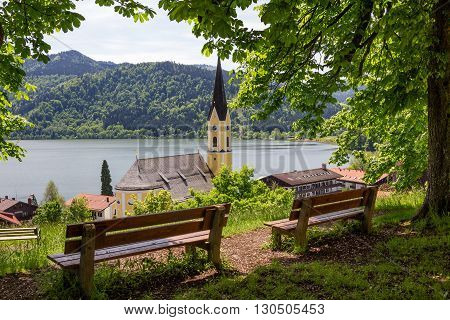Lookout Point Above Schliersee Village With Wooden Benches