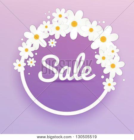 Sale Banner With Flowers, Sale Poster, Sale Flyer, Sale Vector. Vector Illustration.