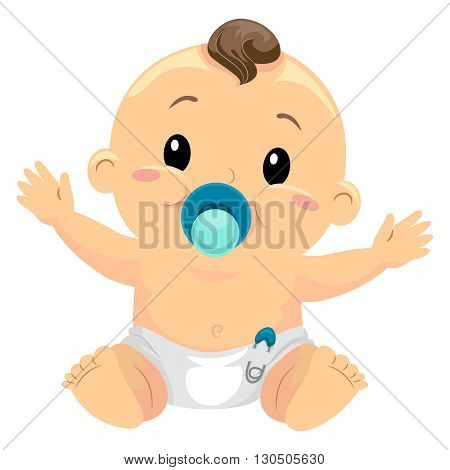 Vector Illustration of Little Baby Boy Sucking a Pacifier