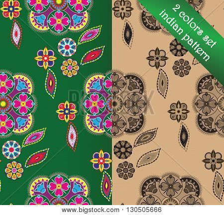 Indian pattern set, bright floral ornaments for backgrounds. 2 colors set.