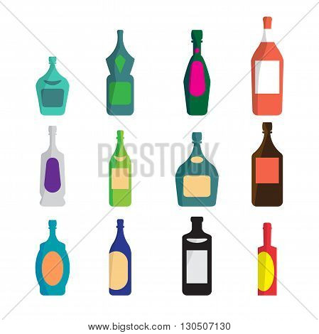 Vector set of different bottles for wine, cognac, liqueur, champagne, martini, vodka, beer, tequila, whiskey. Alcohol assortment of containers. Vector flat cartoon isolated illustration