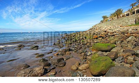 Atlantic beach of Gran Canaria island in Taurito, Spain