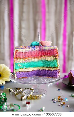 Sliced colorful cake on glass stand