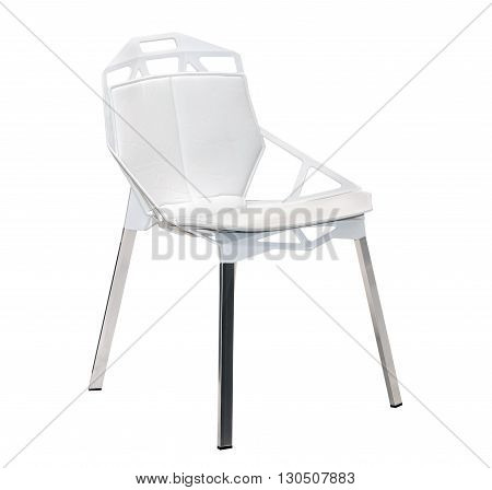 White leather stool chair with metal chrome legs isolated on white background