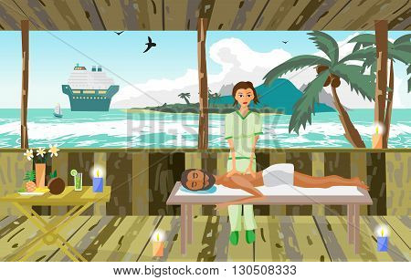 Vector illustration of man pampering herself by enjoying day spa massage on the beach, back massage, wellness wooden salon in thailand, flat cartoon illustration
