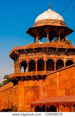 Red Tower Of Taj Mahal Complex In Agra, India