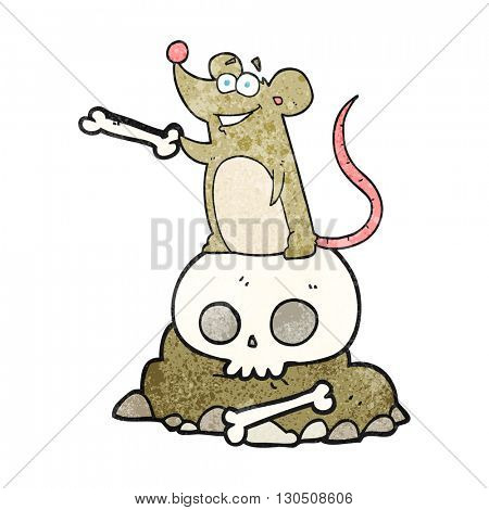 freehand textured cartoon graveyard rat