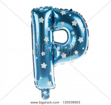 Balloon font with stars part of full set upper case letters, P