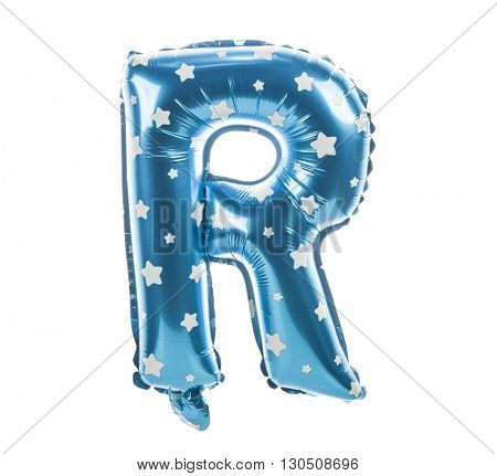 Balloon font with stars part of full set upper case letters, R